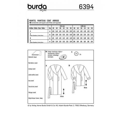 Patron Burda 6394 : Manteau Taille 46-56