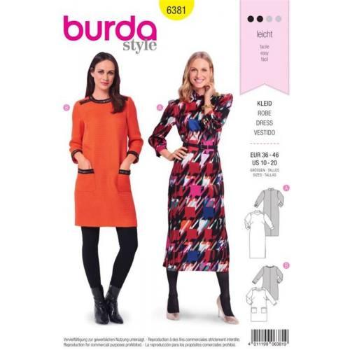 Patron Burda 6381 : Robe Taille 36-46