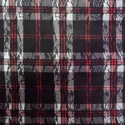 Tissu tartan écossais noir, blanc et rouge à dentelle