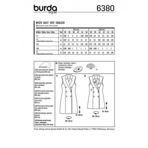 Patron Burda 6380 : Gilet Taille 36-46