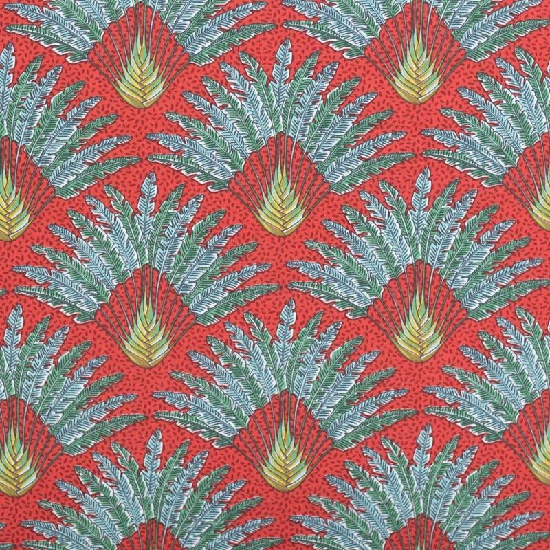 Coton paprika motif arbre du voyageur