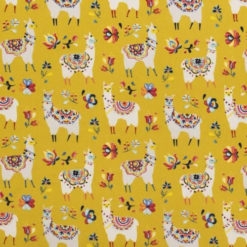 Coton jaune curry motif lama fleuri