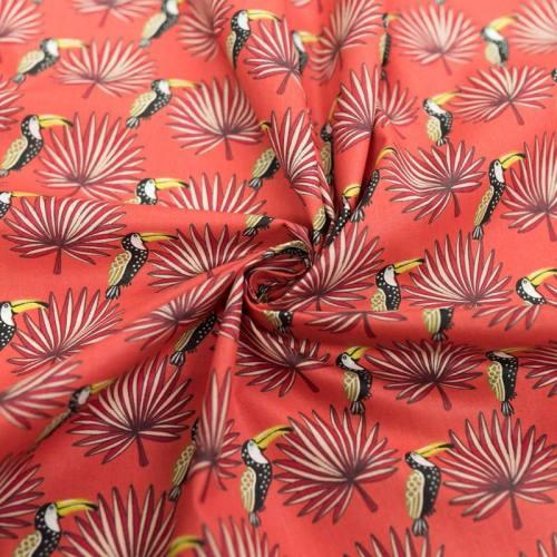 Coton orange sanguine motif toucan et feuille de palmier