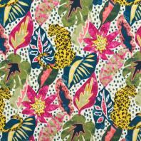 Toile coton motif léopard et jungle fuchsia