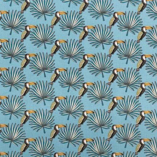 Coton bleu motif toucan et feuille de palmier