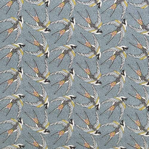 Coton bleu motif hirondelle