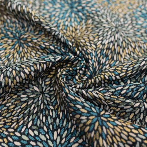 Jacquard noir motif étincelle bleue et or