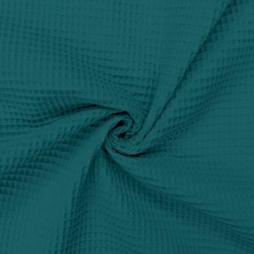 Tissu nid d'abeille bleu paon