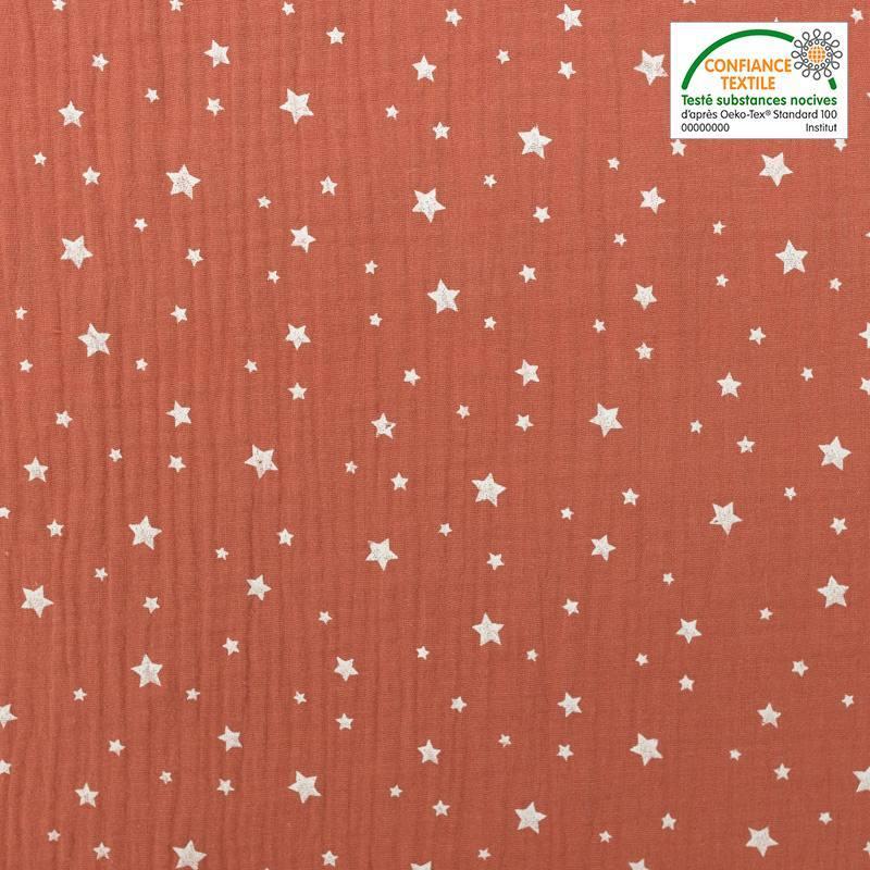 Double gaze saumon foncé motif étoiles