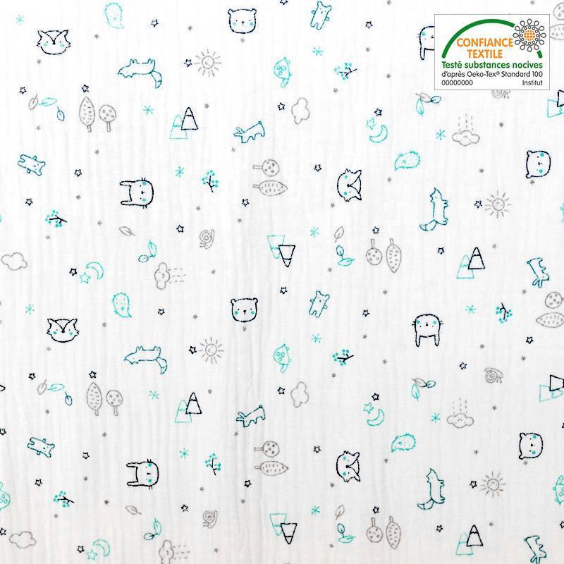 Double gaze blanche motif forêt et animaux zami turquoise