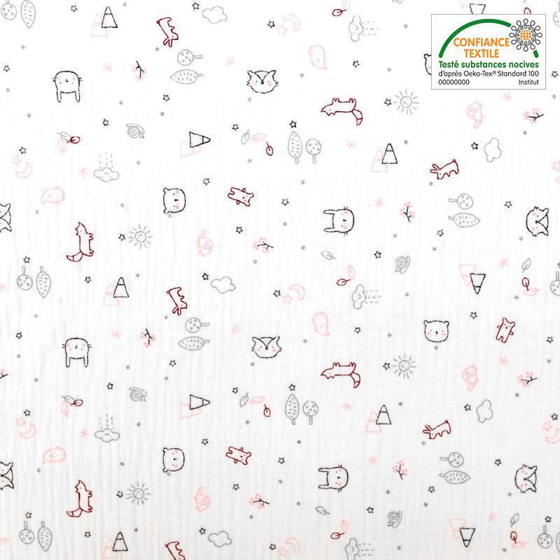 Double gaze blanche motif forêt et animaux zami rose