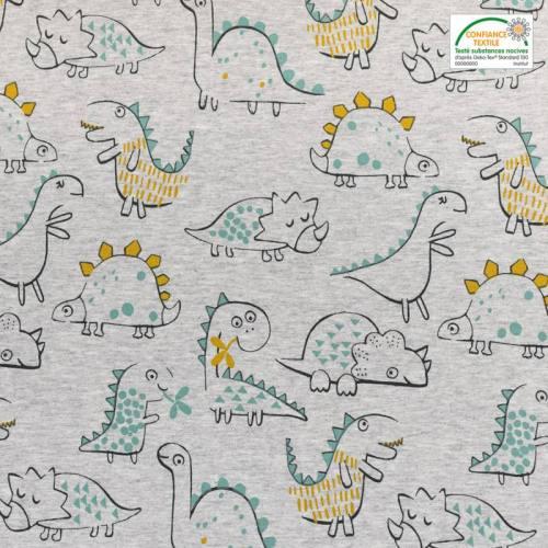 Jersey french terry gris motif dinosaure vert et ocre