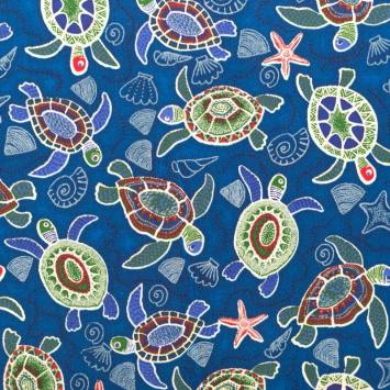 Coton bleu motifs tortues vertes