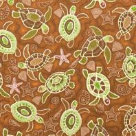 Coton marron motifs tortues vertes