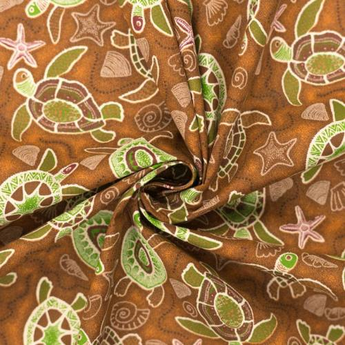 Coton marron motifs tortues vertes