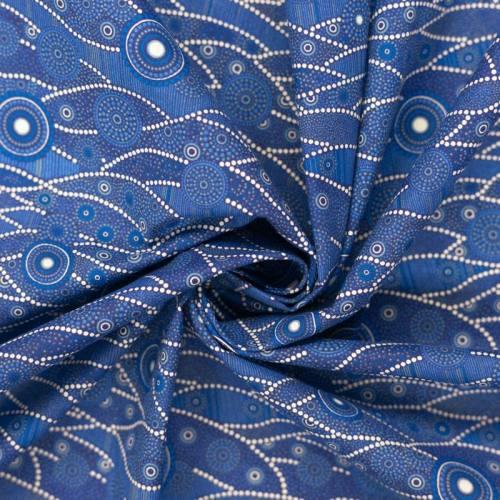 Coton bleu motif japonais blanc