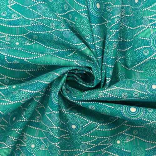 Coton bleu lagon motif japonais