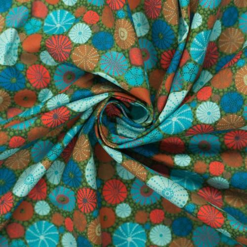 Coton vert motif squelette d'oursin bleu