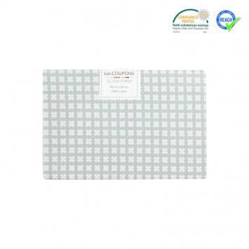 Coupon 40x60 cm coton gris motif croix samat