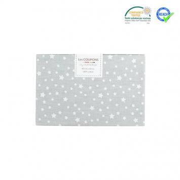 Coupon 40x60 cm coton gris motif étoile dousnui