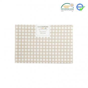 Coupon 40x60 cm coton beige motif croix samat