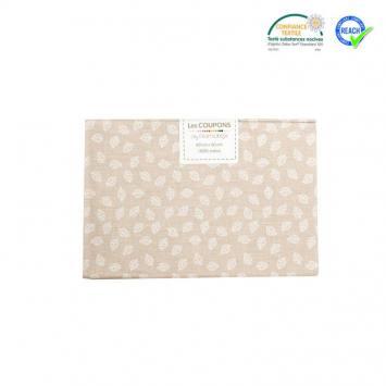 Coupon 40x60 cm coton beige motif petite feuille telma