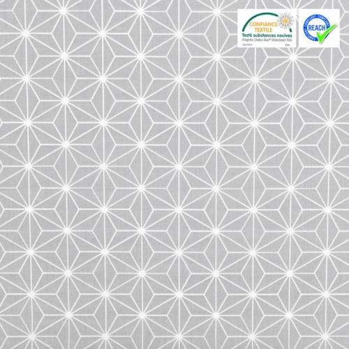 Coton gris clair grand motif asanoha blanc