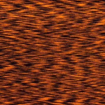 Tissu tubulaire bord-côte chiné noir et orange fluo