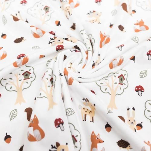 Jersey blanc motif animaux de la forêt
