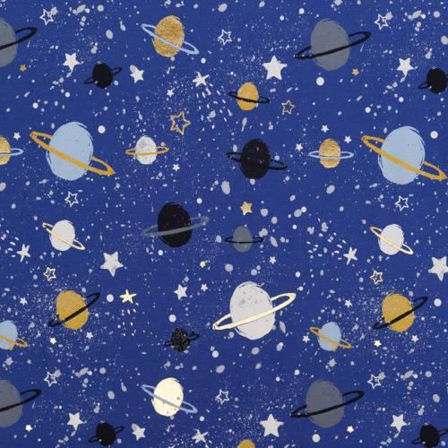Jersey bleu motif planètes et étoiles noires et or