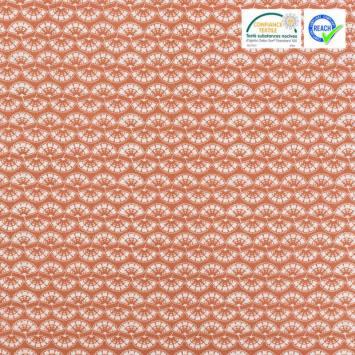 Coton ocre rouge motif fleur blanche