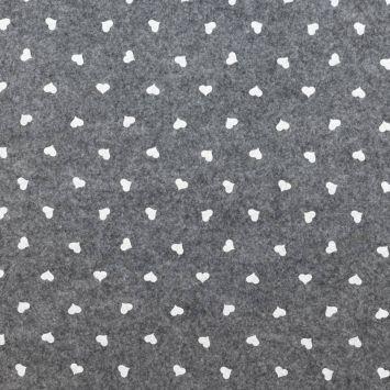 coupon - Coupon 77cm - Feutrine grise à coeurs blancs