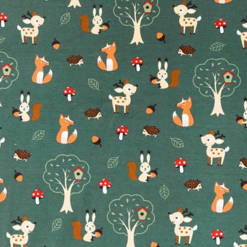 Jersey vert motif animaux de la forêt