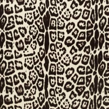 Velours ras imprimé guépard blanc