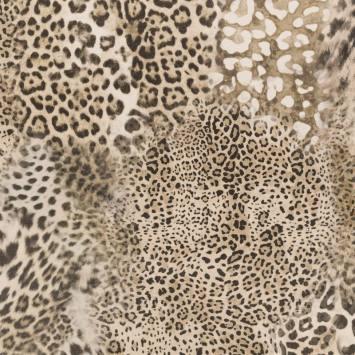 Velours ras imprimé guépard beige