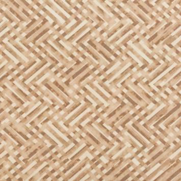 Velours ras crème et beige motif tracés géométriques