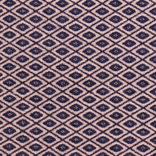 Jacquard tissage brut bleu et rose clair motif losange