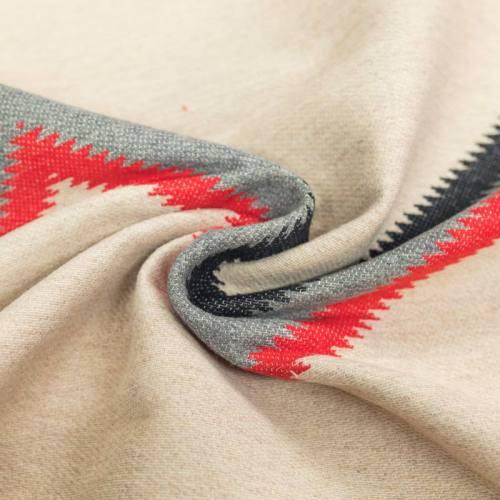 Jacquard réversible beige et tissage rouge et gris
