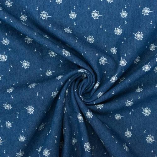 Tissu jean motif pissenlit