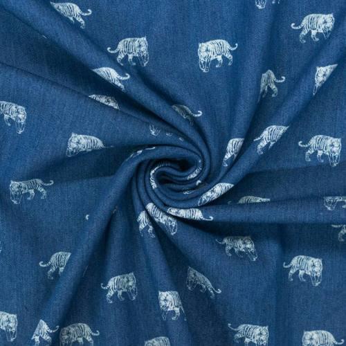 Tissu jean motif tigre