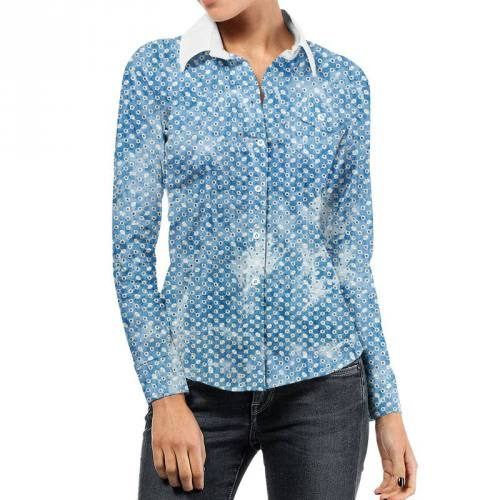 Coton bleu aspect jean motif pois broderie anglaise