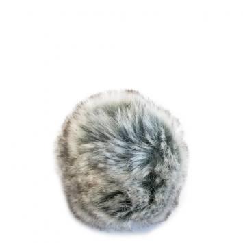 Pompon gris et brun fausse fourrure