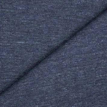 Tissu molleton french terry bleu jean chiné