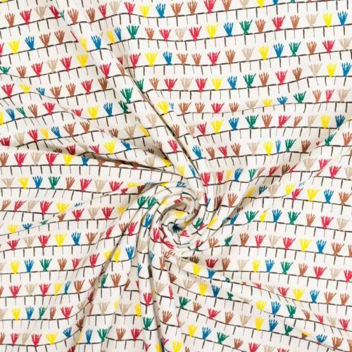 Jersey écru motif pompon multicolore