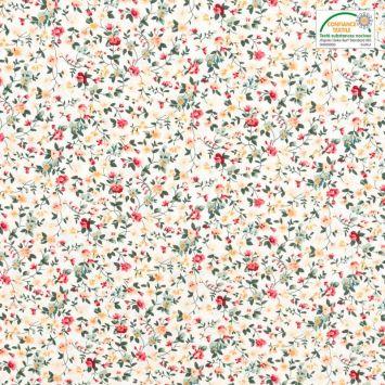 Popeline de coton blanche motif fleurs rouges, beiges et vertes