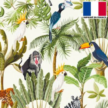 Velours ras écru motif jungle et animaux