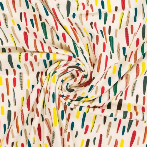 Jersey écru motif trait épais multicolore
