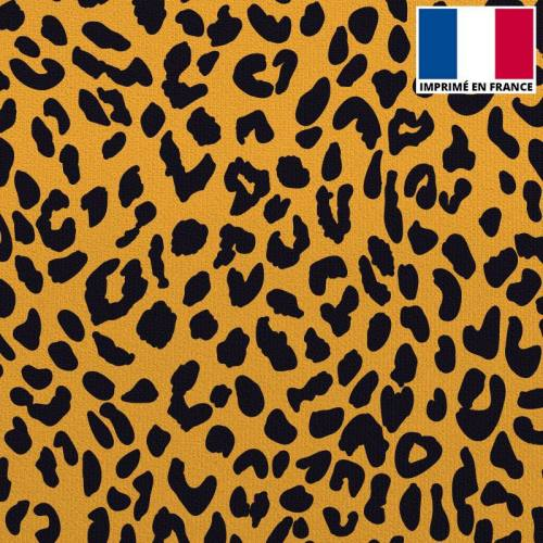 Velours ras ocre imprimé léopard