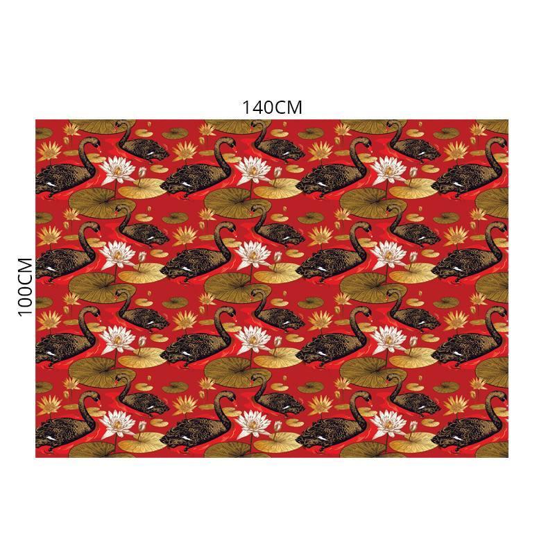 Velours ras rouge imprimé étang asiatique et cygnes