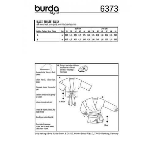 Patron Burda 6373 : Blouse Taille 36-46